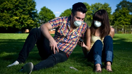 pollution mask portrait pair